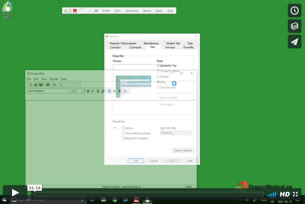 TUTORIAL #13: Using the Dragon Bar   This video teaches you how to use and customize the look and feel of the Dragon Bar, one of the two built-in word processors in Dragon Medical.
