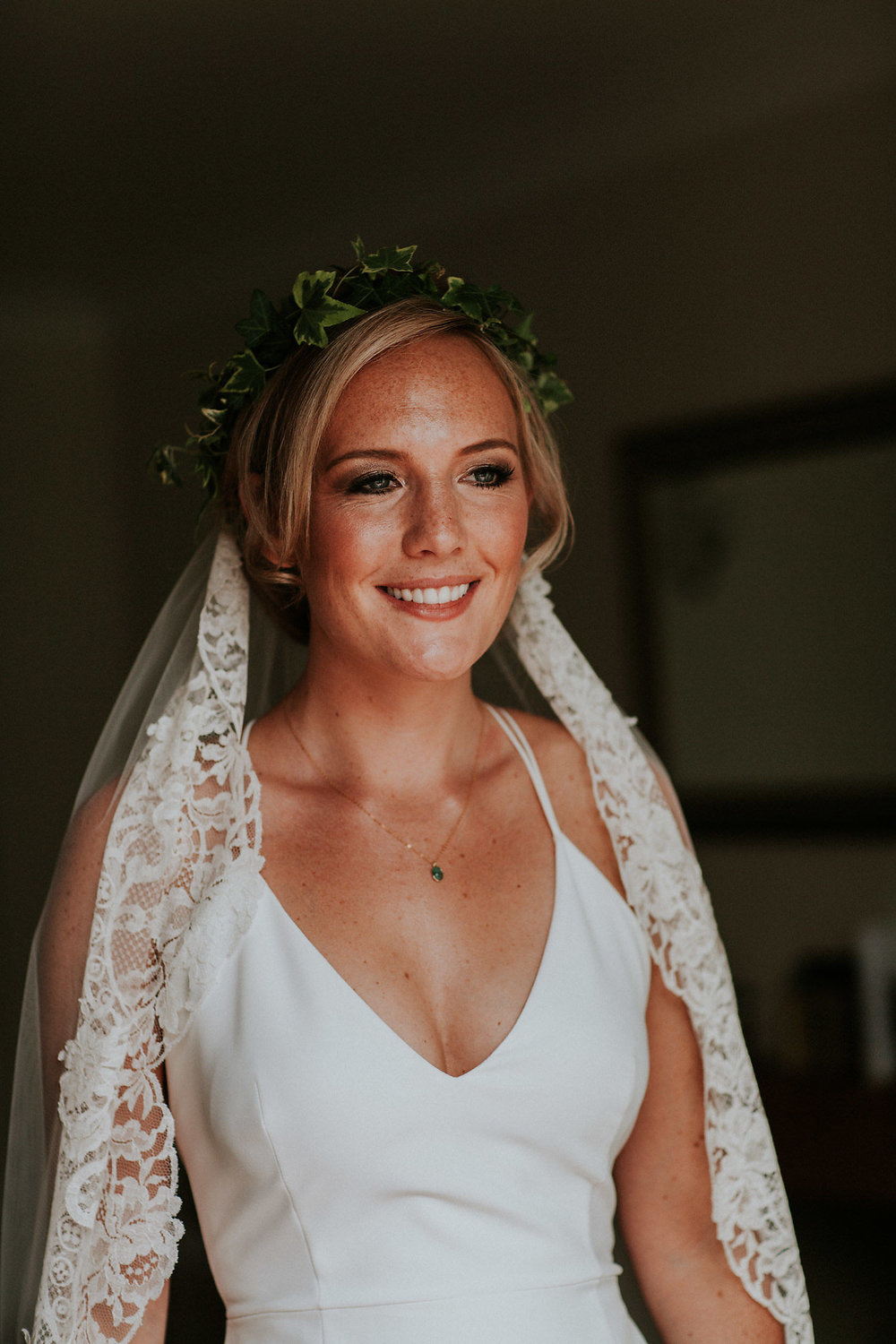Bride Helen - Essex Wedding - Stunning bride Helen made my makeup job very easy. Beautiful freckles, sunkissed skin, cheekbones to be envied... I've complimented her skin tone with the fresh and glowing tones and textures but amped it up with the earthy-tones, smoky eyes.Photo: Abigail Fahey Photography