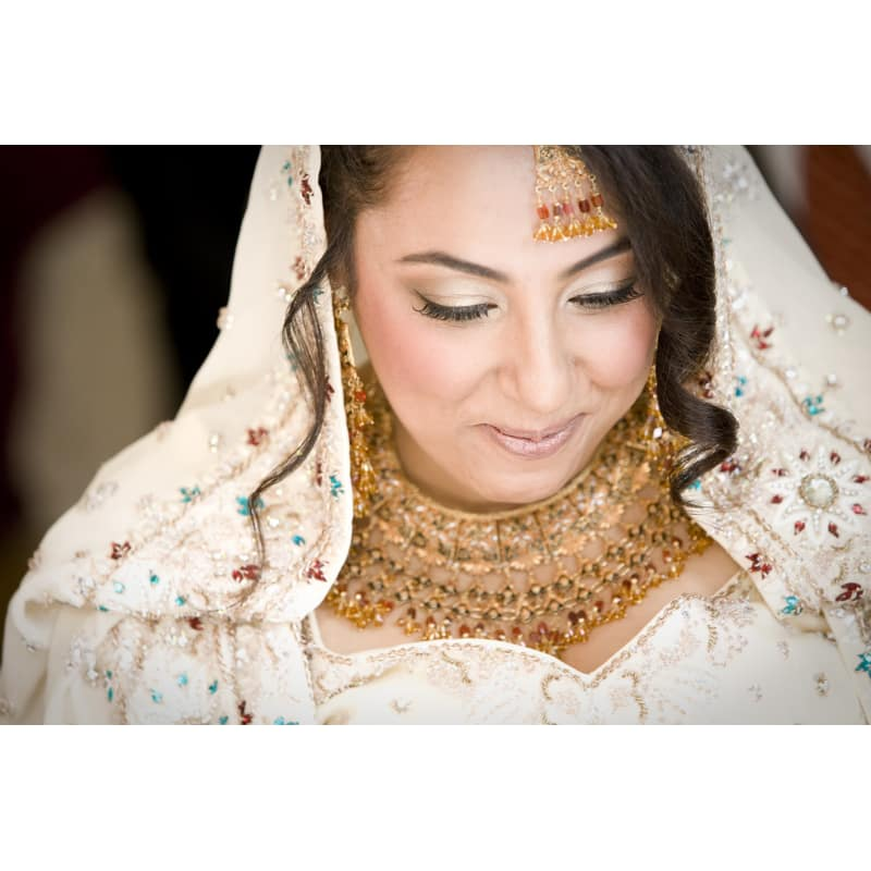 Bride Shaazia - Wedding in Richmond - Shaazia's gorgeous, traditional wedding dress and the bold jewellery brought plenty of inspiration my way and the results really pleased me, with full set of false lashes to finish off the stunning - and very chilled-out - bride's look.
