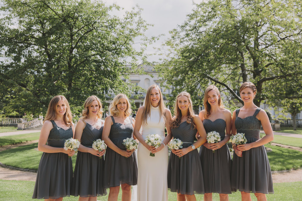 Bride and the Bridesmaids at Grove House in Roehampton - I've prettified the whole bridal party of these fabulous girls and the sunshine and stunning background setting did the rest.Photo: McKinley-Rodgers