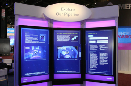 Interactive kiosk featuring information about Genentech's oncology pipeline and research and development.