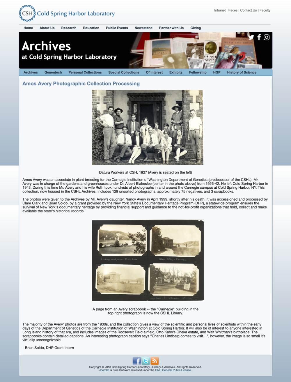 CSHL: Amos Avery Photographic Collection