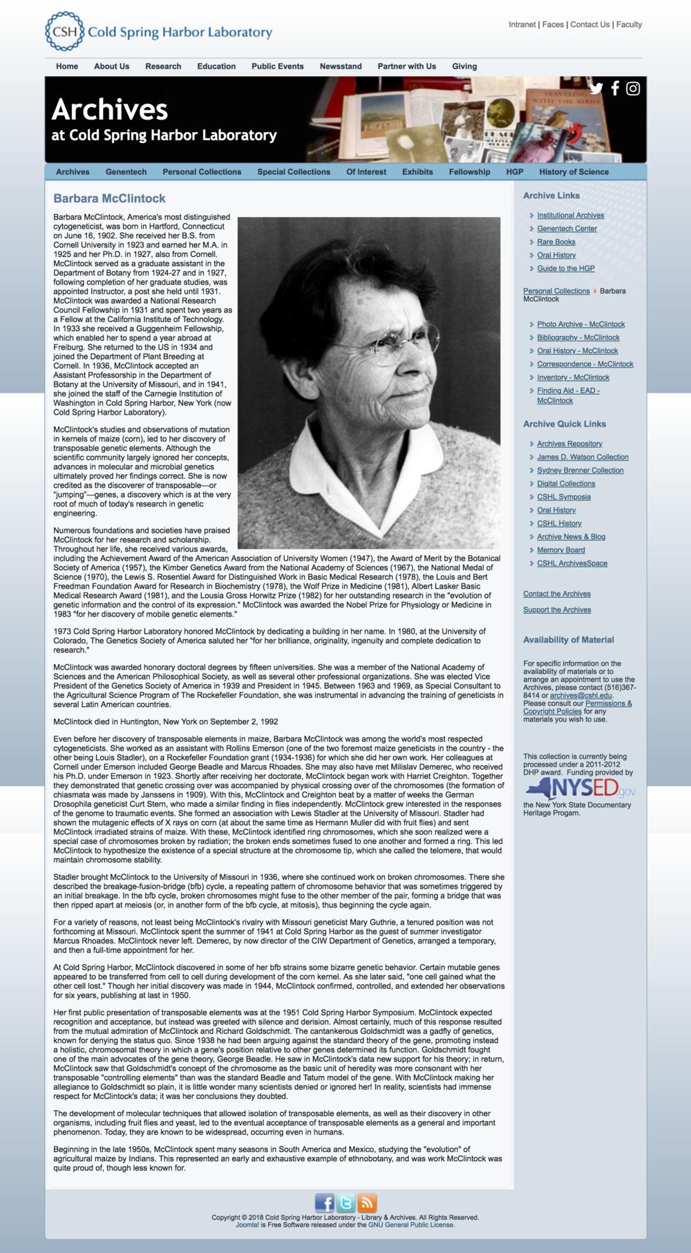 CSHL: Barbara McClintock Digital Collection