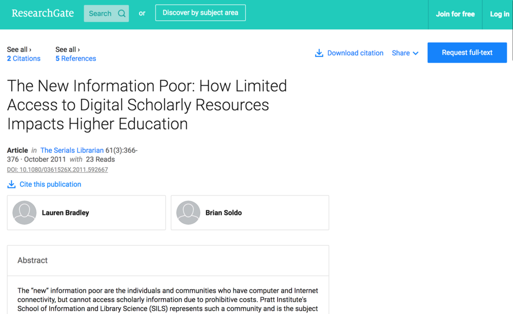 Publication: The New Information Poor: How Limited Access to Digital Scholarly Resources Impacts Higher Education