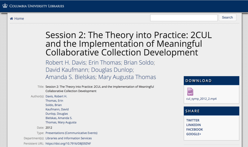 Publication: The Theory into Practice: 2CUL and the Implementation of Meaningful Collaborative Collection Development