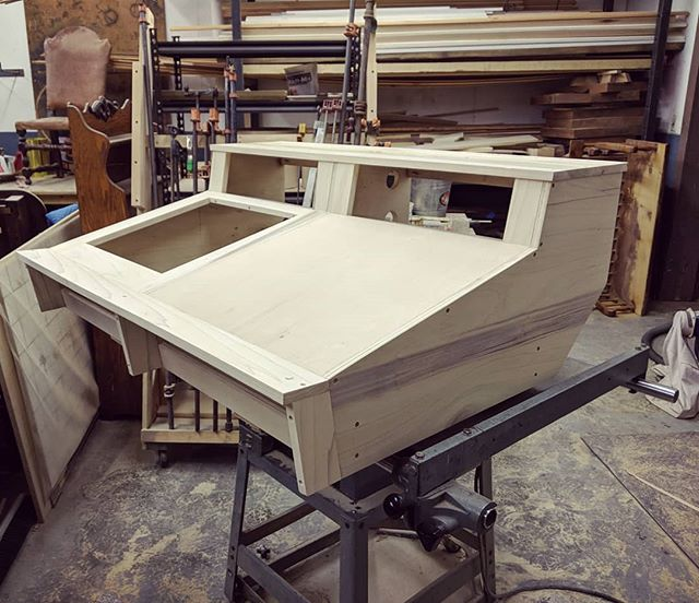 Got another one in the works, this time for Studio B. Pretty excited to finish this up and put it to use!  #woodworking #recordingstudio #mixingconsole #producersdesk #madeinusa