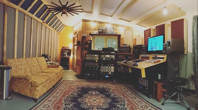 Desk is finished and installed. Room is about 90 percent there. I'm exhausted.  #woodworking #recordingstudio #newhampshire #dovernh #madeinusa #amesburyma