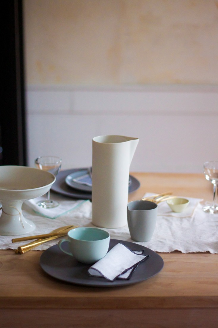 Lekker Home: Charcoal dinner plates  Ripple Collection by Urban Oasis $58; mint teacup $82 with saucer, white carafe $76, gray jug $26: MUD Australia