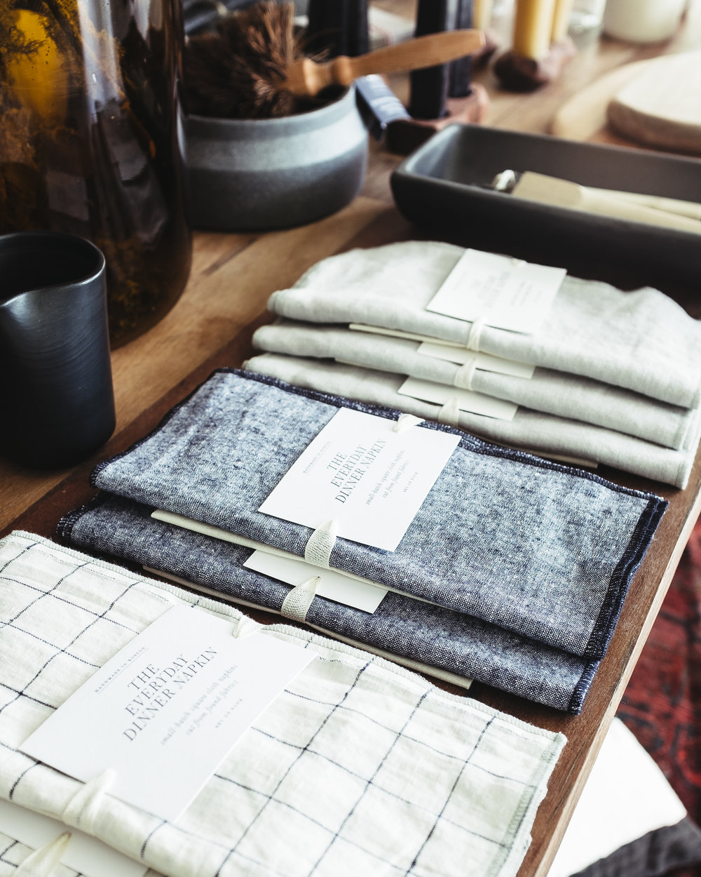 Everyday 100% Linen Navy Windowpane, Blue Chambray & Luxe Gray Linen Dinner Napkin Sets