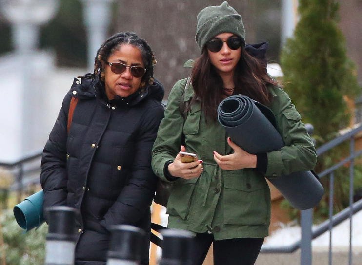 Meghan and her mom leaving yoga.