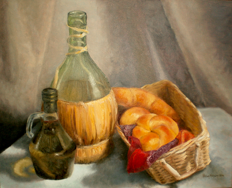 Bread and Oil Still Life