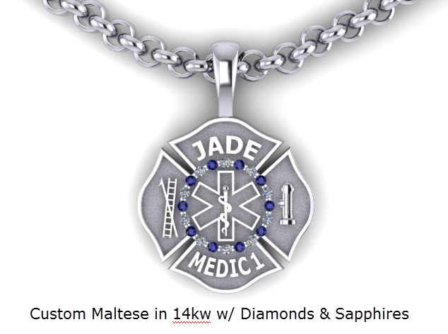 Jewelry and gifts for firefighters and police custom firefighter maltese pendant with diamonds and gems firefighter maltese cross necklace aloadofball Gallery