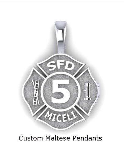 Custom firefighter maltese pendants firefighter jewelry custom custom firefighter maltese pendants aloadofball Choice Image