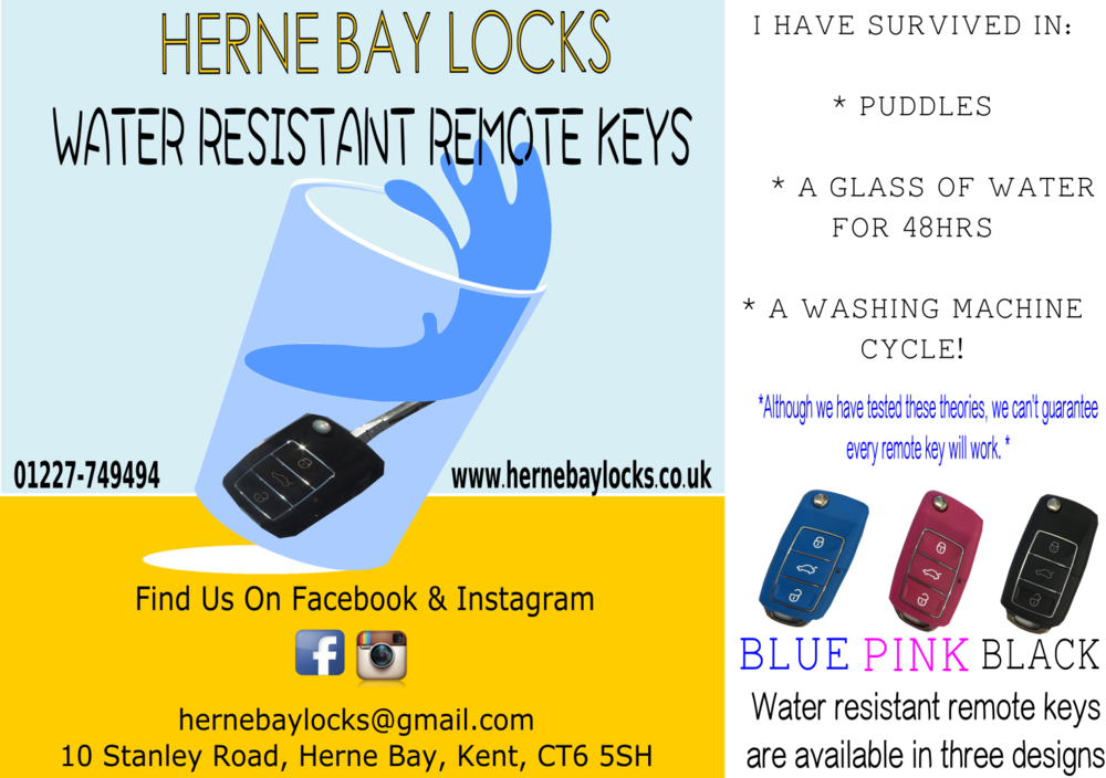 Want to protect your remote key from water? - We provide water resistant remote keys for your vehicle. If your key has been dropped in a puddle, soaked in water for 48hrs or forgotten in your pocket and gone through a wash cycle. Don't worry - these water resistant remote keys will still start your vehicle. Call us now on 01227-749494 to order yours today!