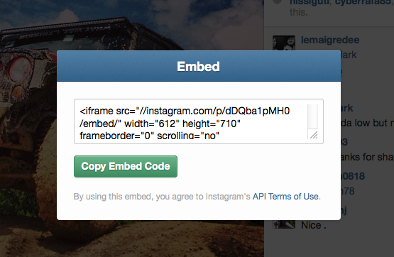 embed instagram video into your website