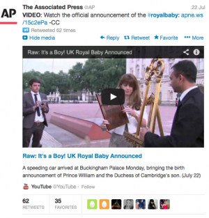 An example of YouTube video embedded in a Tweet