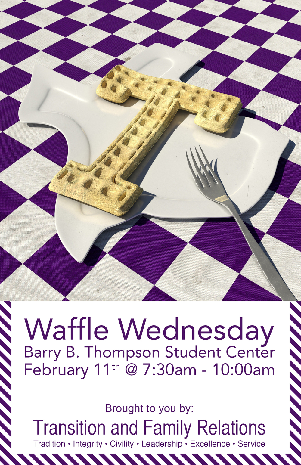 2015 Waffle Wednesday Poster — The first poster and one of my first projects ever at Student Publications. I made the waffle imagery with 3sd Max, a CG software package. The typography, unfortunately, was an afterthought of all the work I did for the rendering and thus is lacking a little design care.