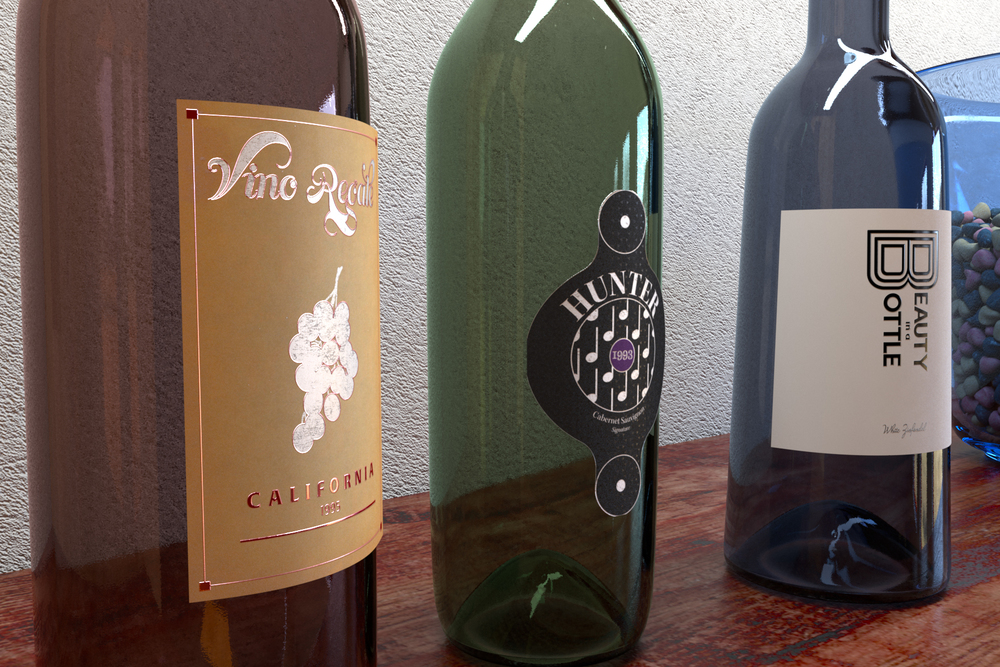Wine Bottles — Close up on dust, smooth-ish glass, my custom labels (made in Illustrator with the Astute Graphics Texturino plugin), the wood shelf, and the wall.