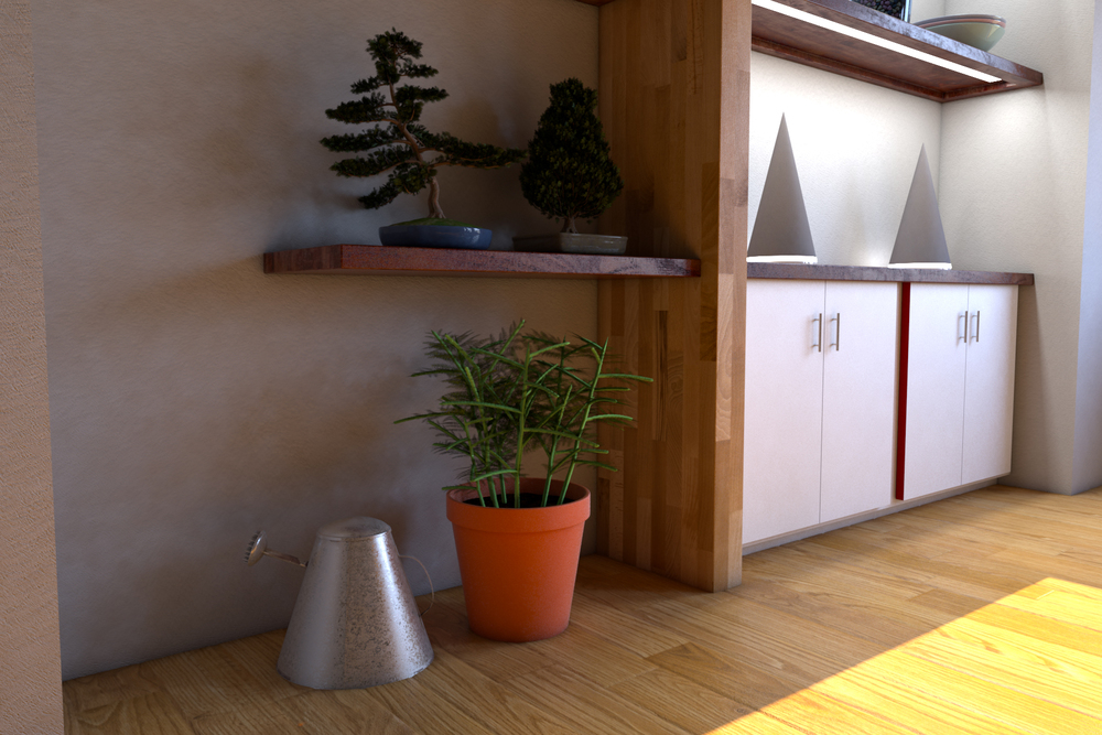 Plants and Pail — The plants came from a service included in my Autodesk account. The pail was made with a galvanized steel texture from poliigon.com