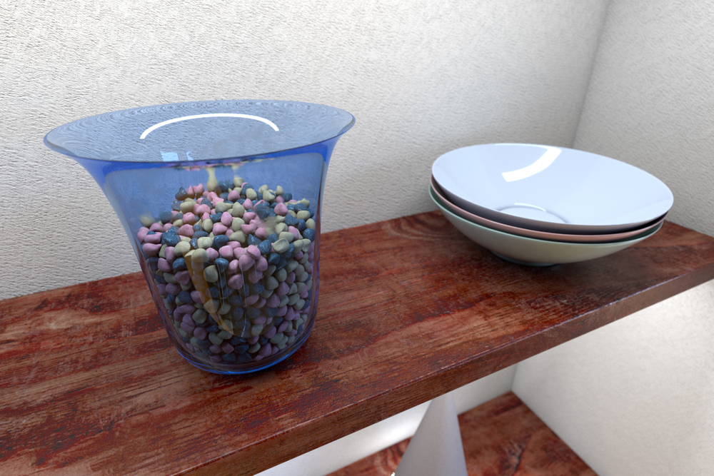 Vase and Bowls — I don't know really what goes on shelves, my own place is very minimal and I don't like collecting things. The rocks were a pain to place, using the mParticles system in the PFlow object, then using the Mesher object to bake the models. There is a slight smudging on the vase to show that is may have been scratched or collected dust or grime.