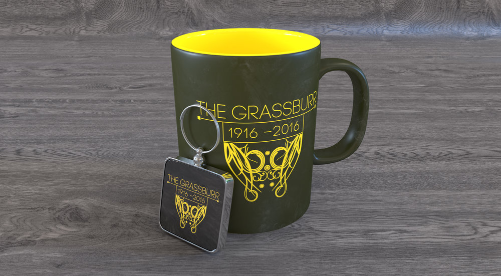 This was modeled & rendered in Blender. It is the best representation I could show of the mug and key chain we made for the centennial celebration.
