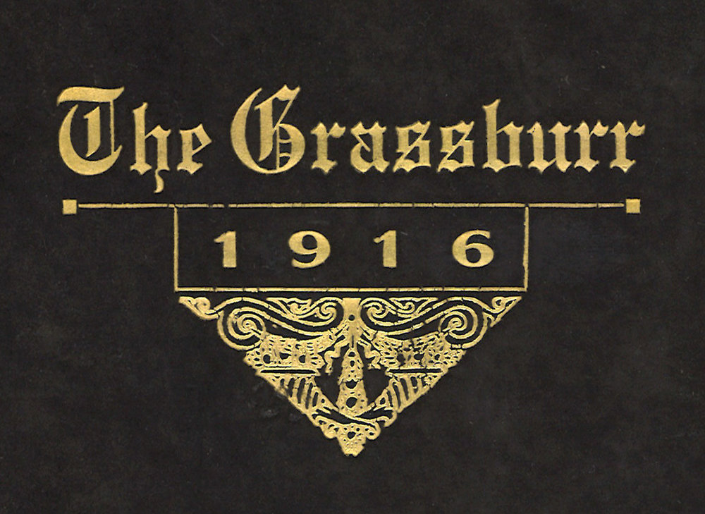 The original logo designed for the first Grassburr. I could not track down the designer of this cover, but it is theorized that it was a default design used by the printer.