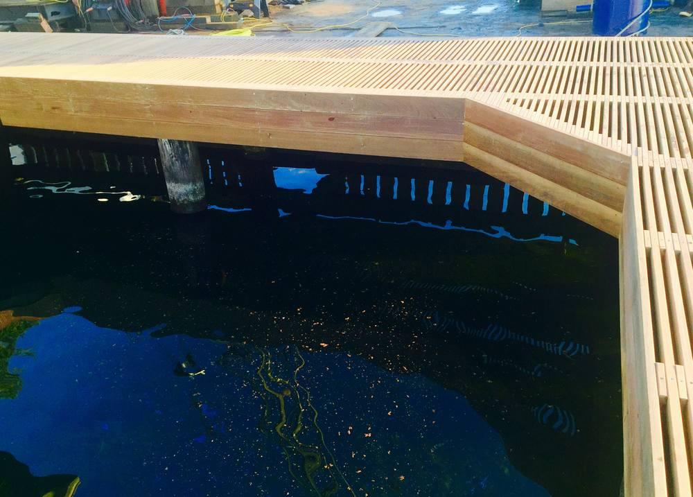 Dock construction wood deck detail