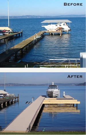 This dock on Mercer Island had clearly seen better days. We built a new one and replaced the pilings to accommodate the homeowner's growing family and larger boat. The new design complements the exterior of the house and enhances the beauty of the yard and landscaping.