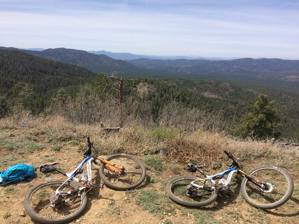 Orbea bikes soaking up the sun and the view at the top of Spruce Mountain after a big ride in Prescott