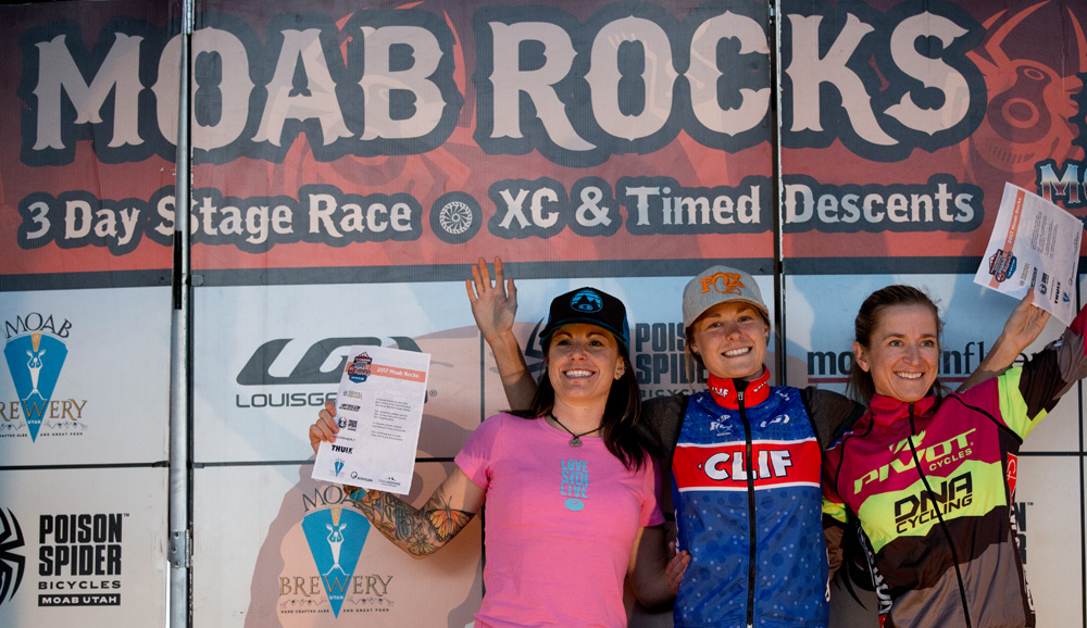 Overall race podium with Jena Greaser (2nd) and Marlee Dixon (3rd) Photo by John Gibson