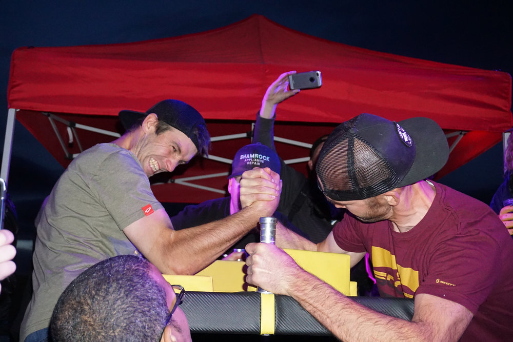 Troy and Geoff in the finals of the arm wrestling.
