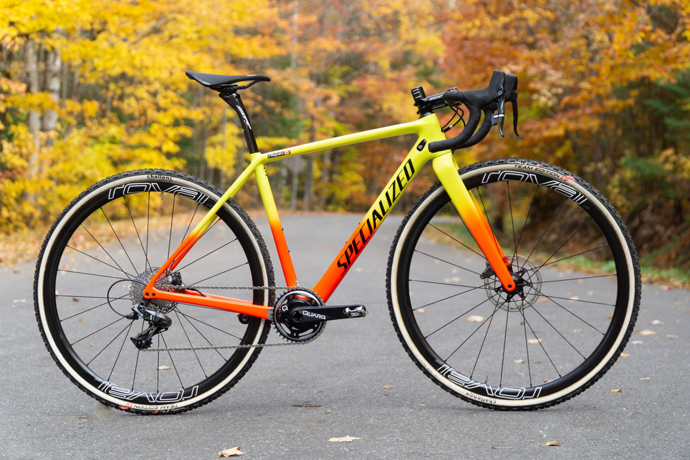 Specialized Crux blending in the fall colours! Magically floating in the middle of the road.