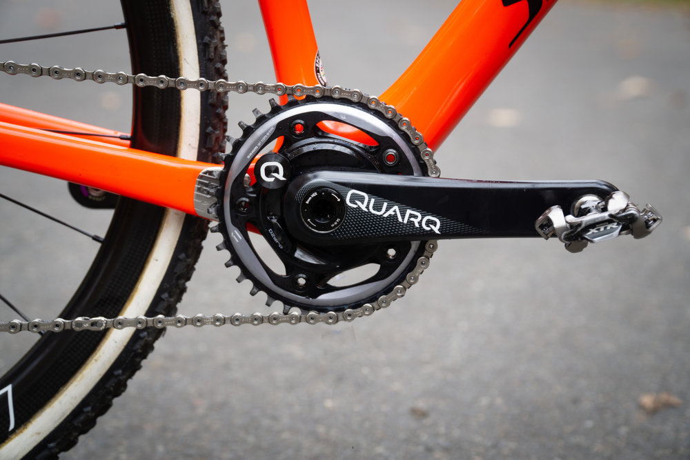 38T chainring mounted on the Quarq D-Zero power meter. We change the chain ring fairly often and it is very easy to do with the power meter, only a few bolts!