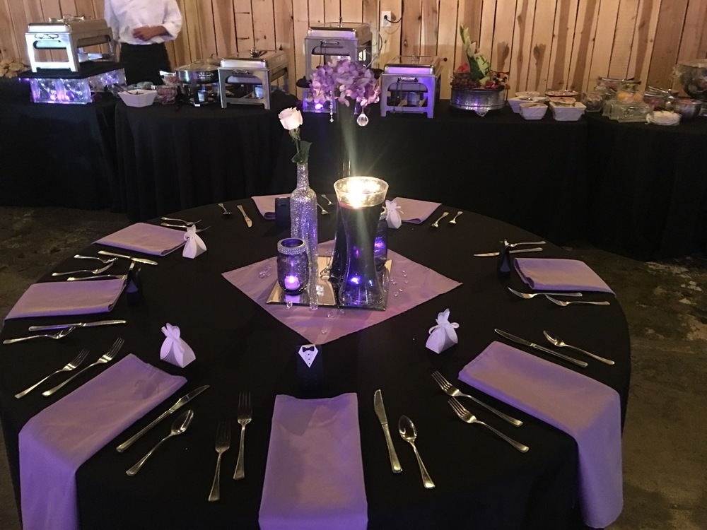 Wedding reception in Purple