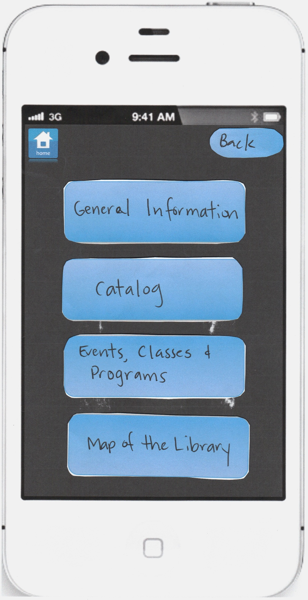 Pocket Library paper prototype