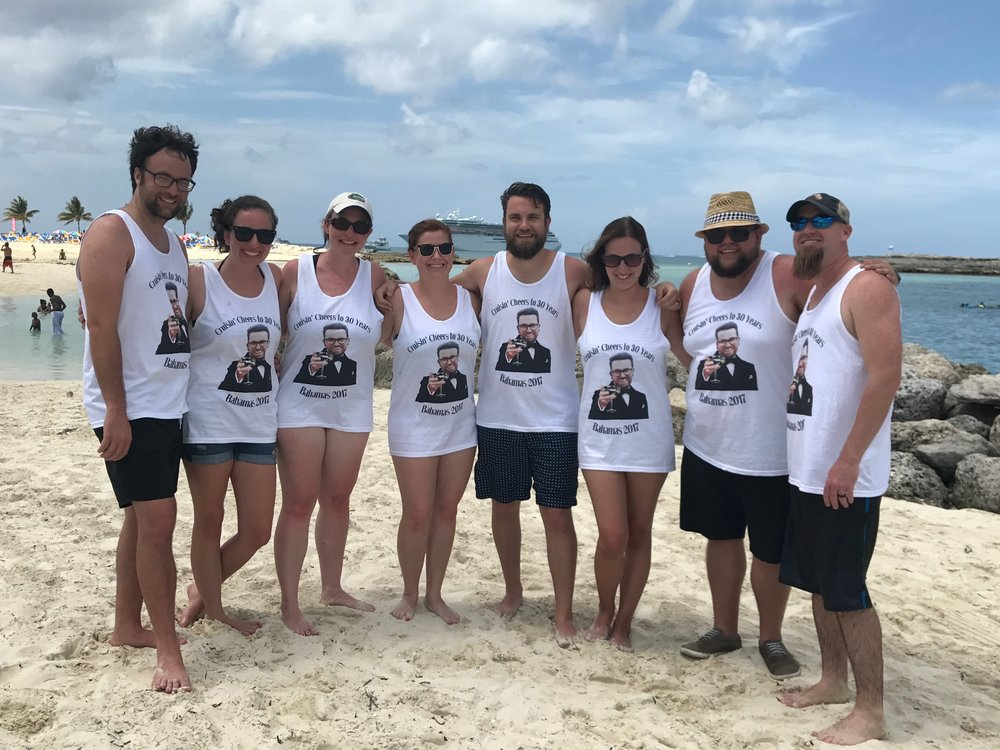 We went on our first cruise since our honeymoon, to the Bahamas, with a few friends to celebrate David Shepherd's 30th birthday!