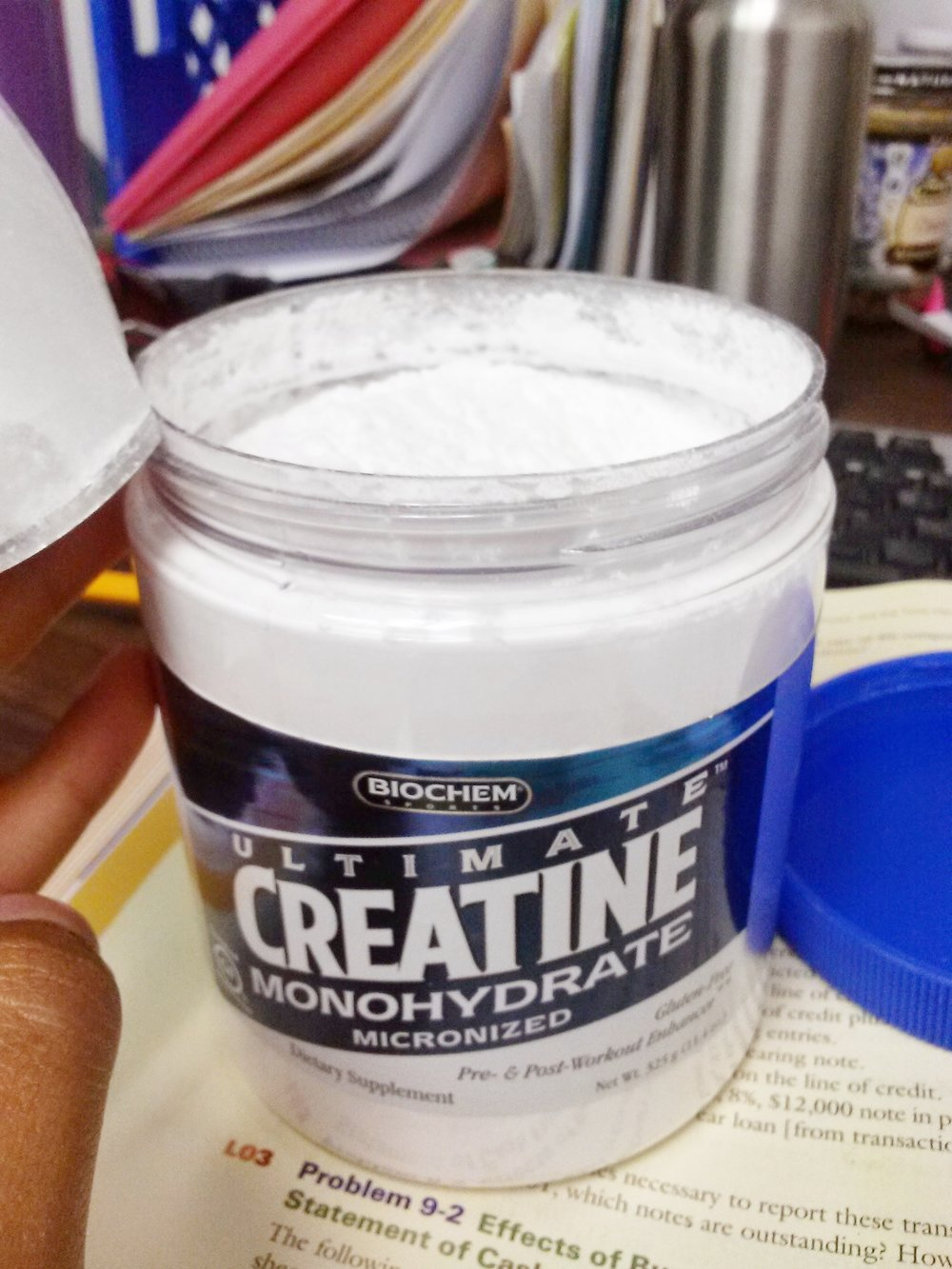 "My first tub of creatine. I named it ""Sofie's Muscle Medicine""."