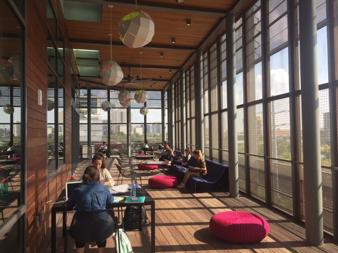 A screen porch reading area at the new Austin Central Library. Photo by Sightlines.