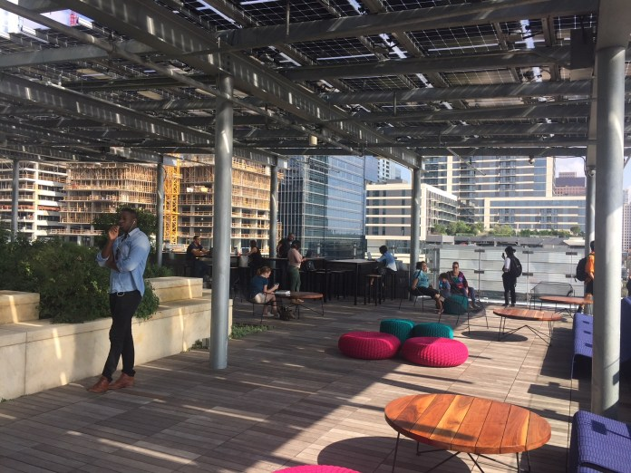 The rooftop garden and lounge area at the new Austin Central Library. Photo by Sightlines.