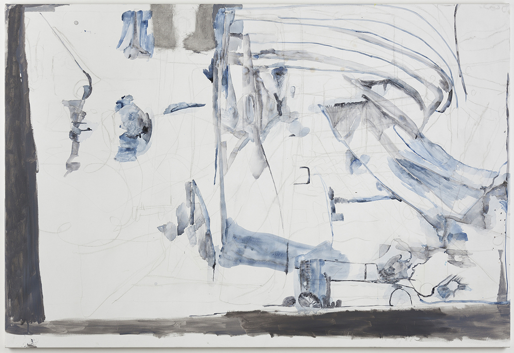 "Varda Caivano. ""Untitled,"" 2015 acrylic, charcoal and oil on canvas 70 7/8″ x 47 1/4″"