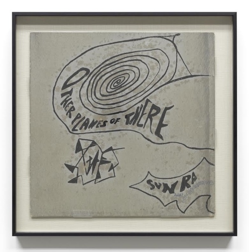 "Sun Ra. ""Other Planes of There,"" 1966. Ink on metallic silver paper, 14 x 14 inches."