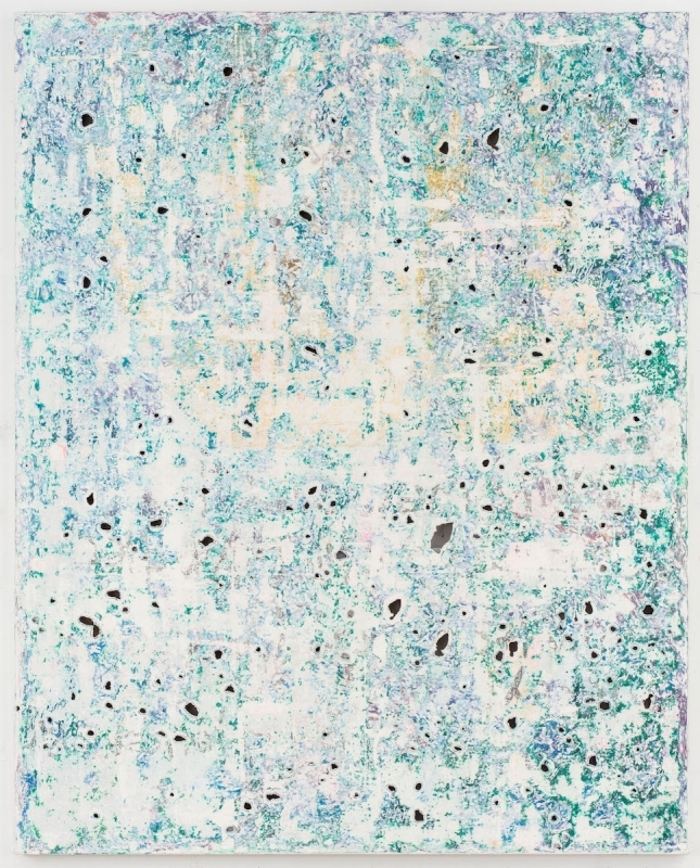 Kadar Brock, green teal brush strokes brush strokes hannah cursed seal, 2017, oil, flashe, house paint and spray paint on canvas, 60 x 48 x 2