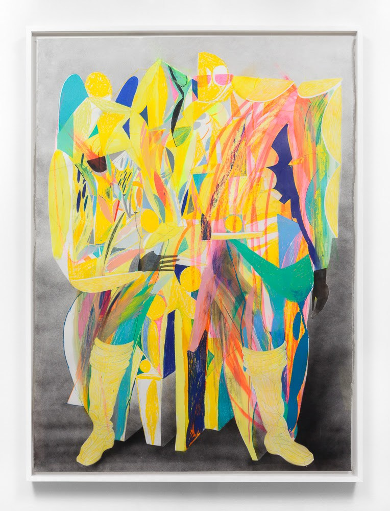 "Andrew Holmquist, ""Strong LQQKS (Jubilee),"" 2017, colored pencil, wax pastel, gouache, graphite, and spray paint on paper, 77 x 55 inches (80.5 x 58.5 inches, framed)/ Carrie Secrist Gallery"