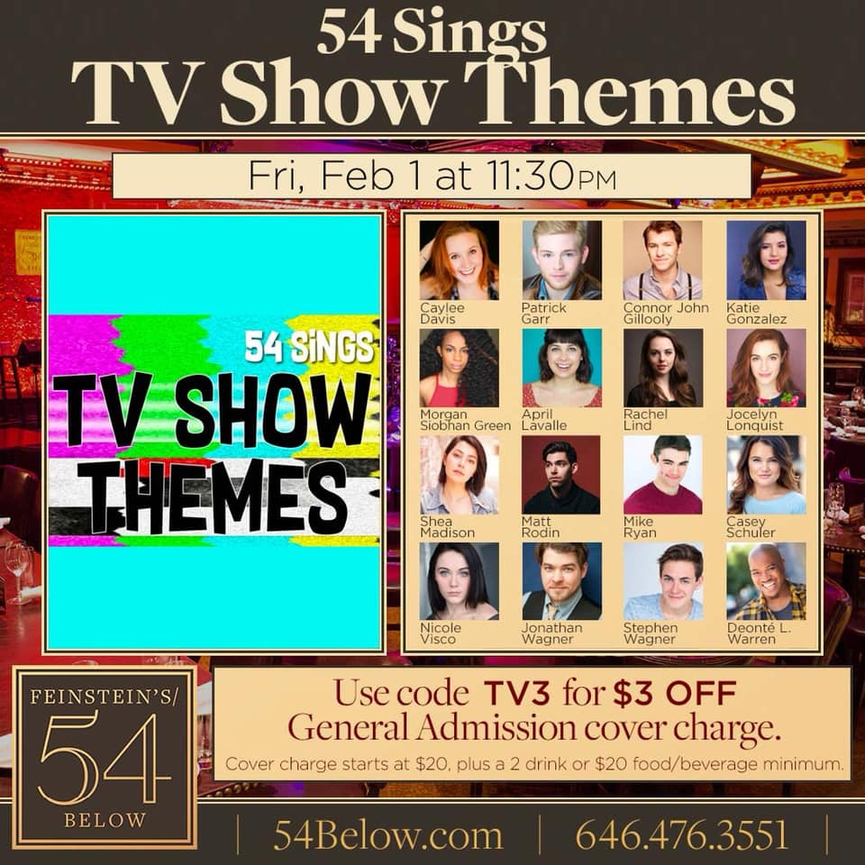 54Sings TV Show Themes - February 1st, Nicole will be joining the cast of 54Below to sing some favorite TV show themes!
