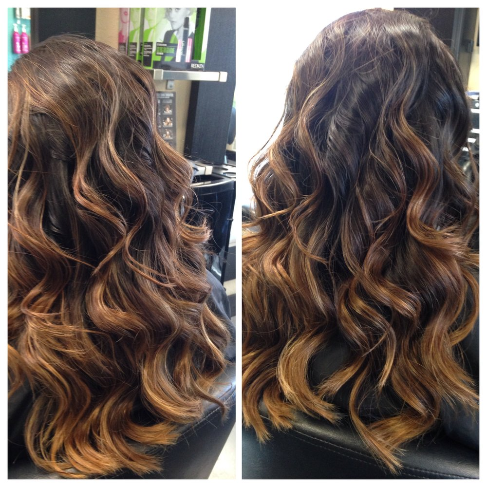 Coppery Gold Balayage Ombre