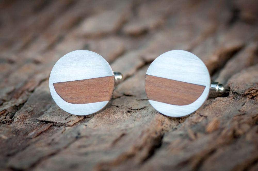 Stirling silver / Rimu cuff links - $250.00 NZD