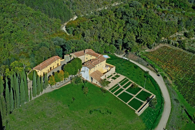 Aerial view of the Tuscan Renaissance Center near Siena, Italy