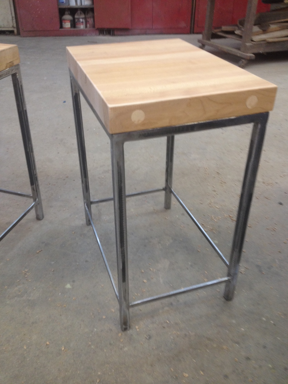 Raw Steel and Butcherblock End Table.JPG
