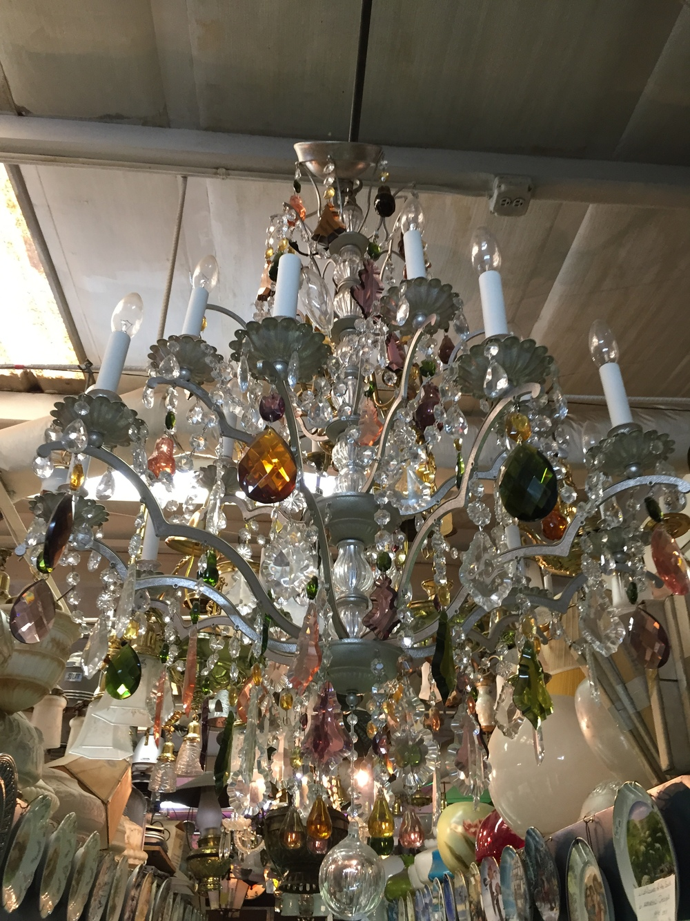 Amber Glass Prism Chandelier.JPG