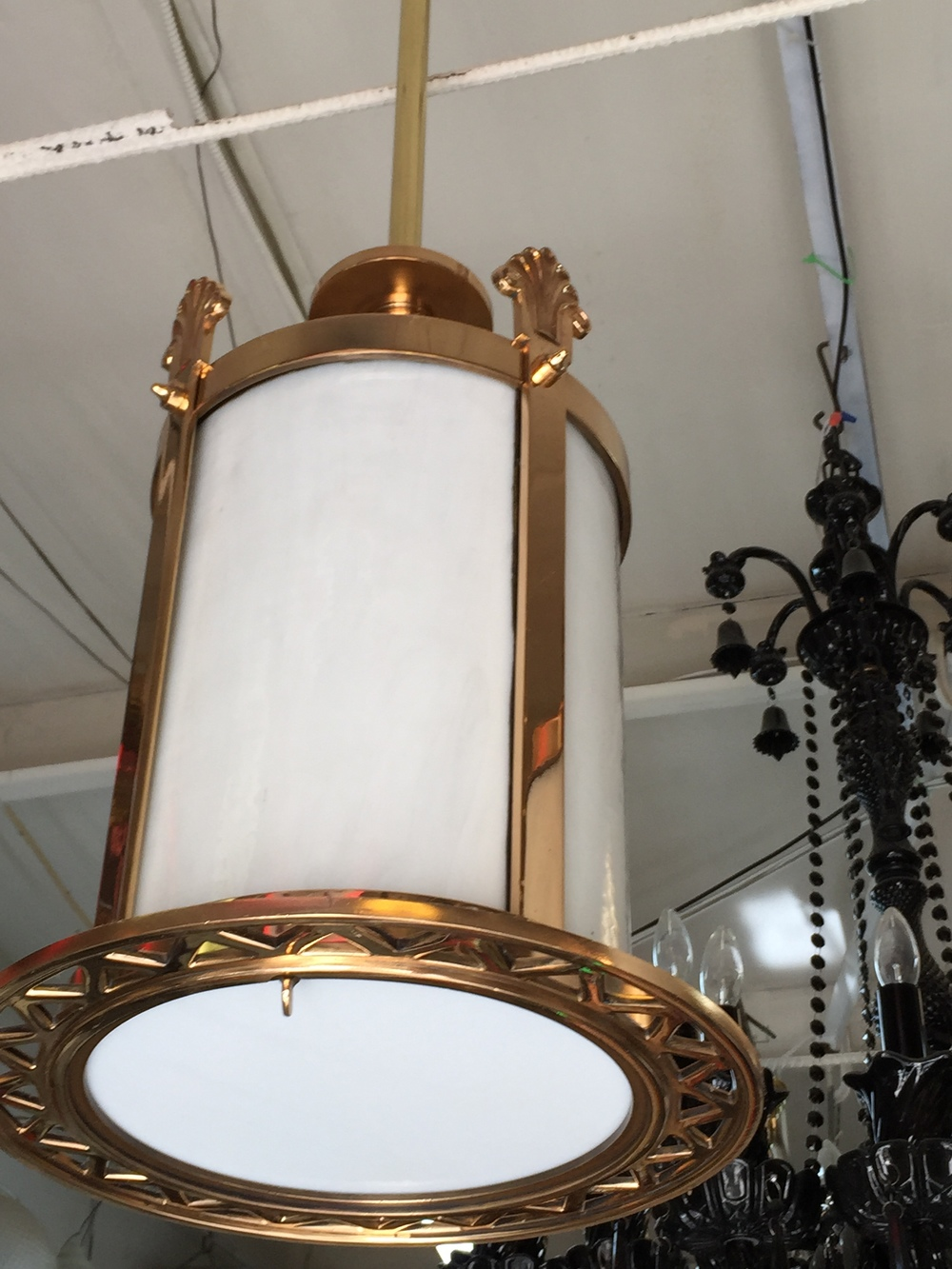 Red Brass and Glass Hanging Fixture.JPG